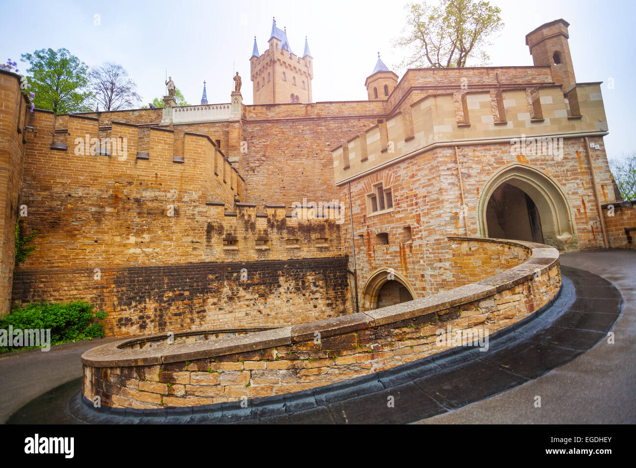 The inner yard of beautiful Hohenzollern castle - Stock Image
