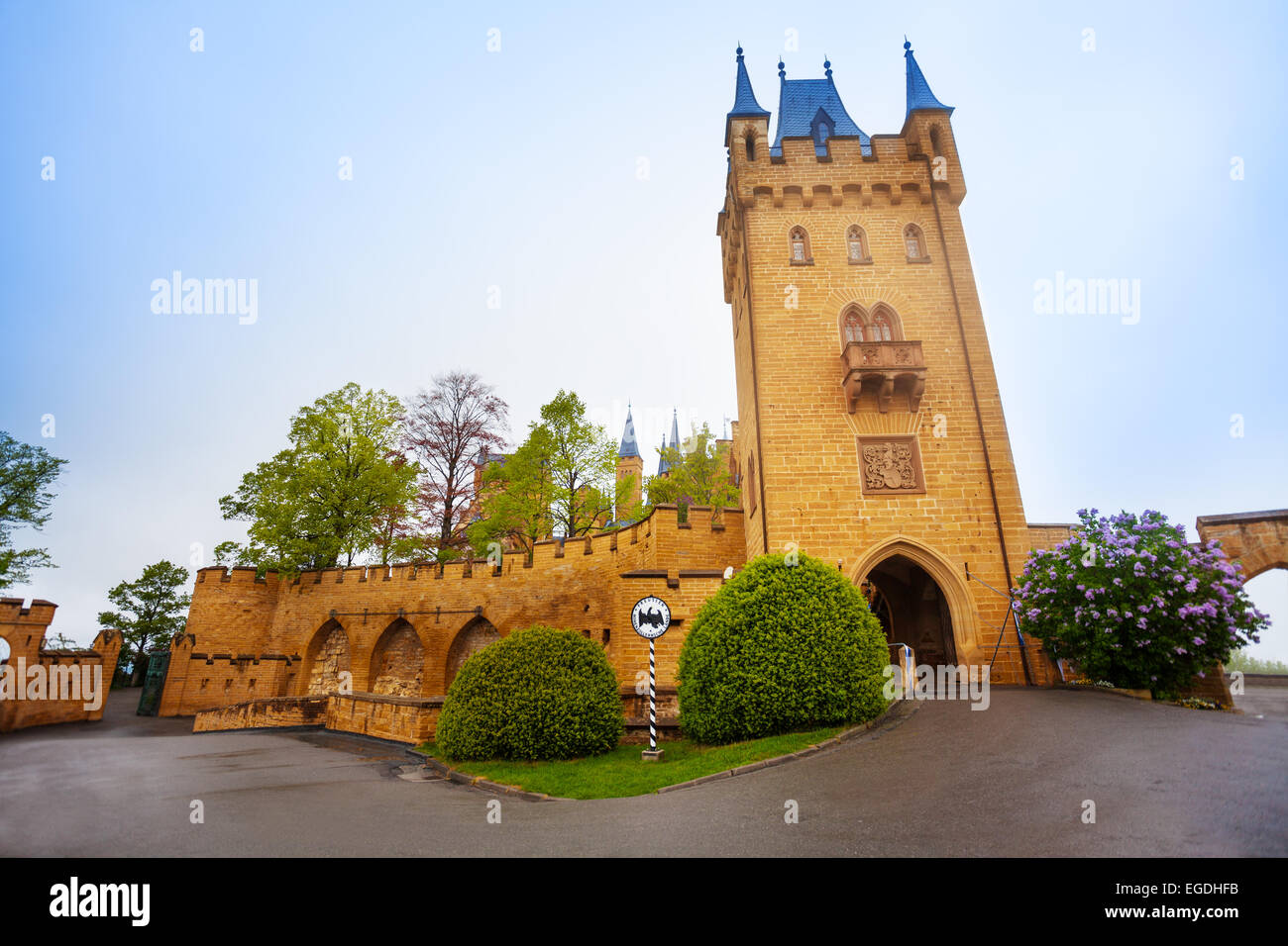 Tower and walls in inner yard of Hohenzollern - Stock Image