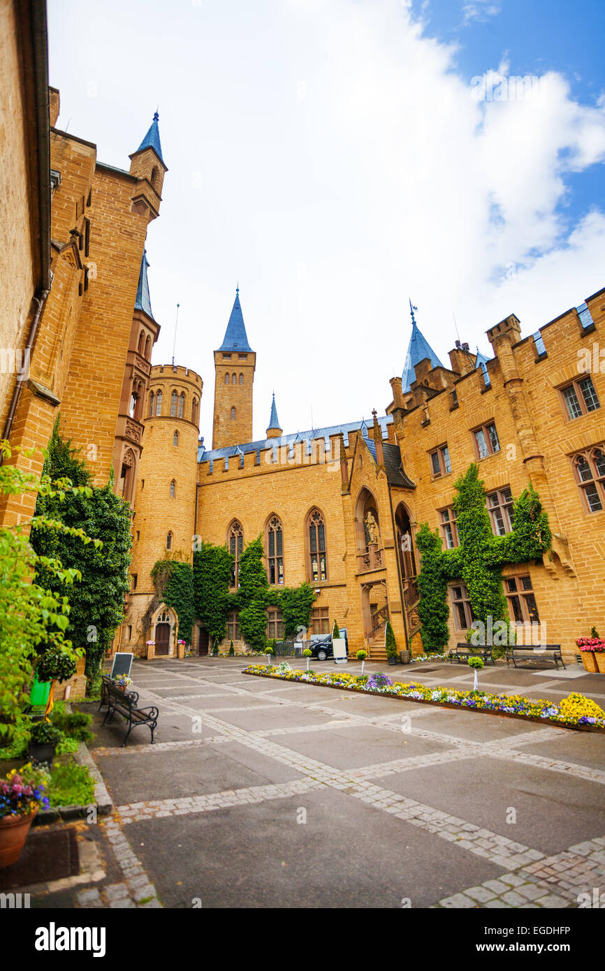 Beautiful Hohenzollern from inner yard with ivy - Stock Image
