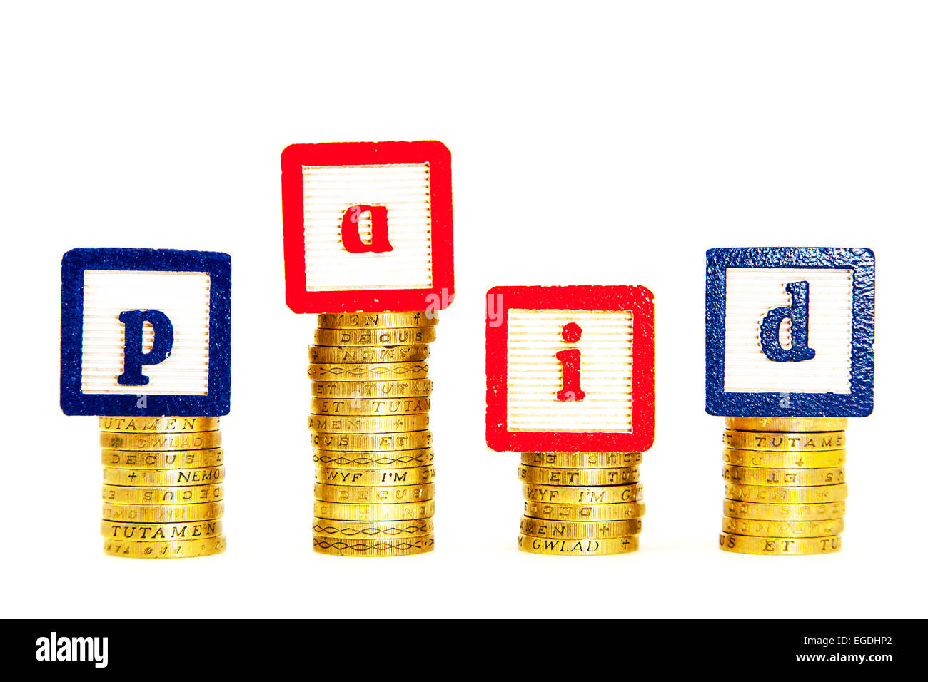Paid cash money bill bills payee in full debt debtor debts cutout cut out white background copy space - Stock Image