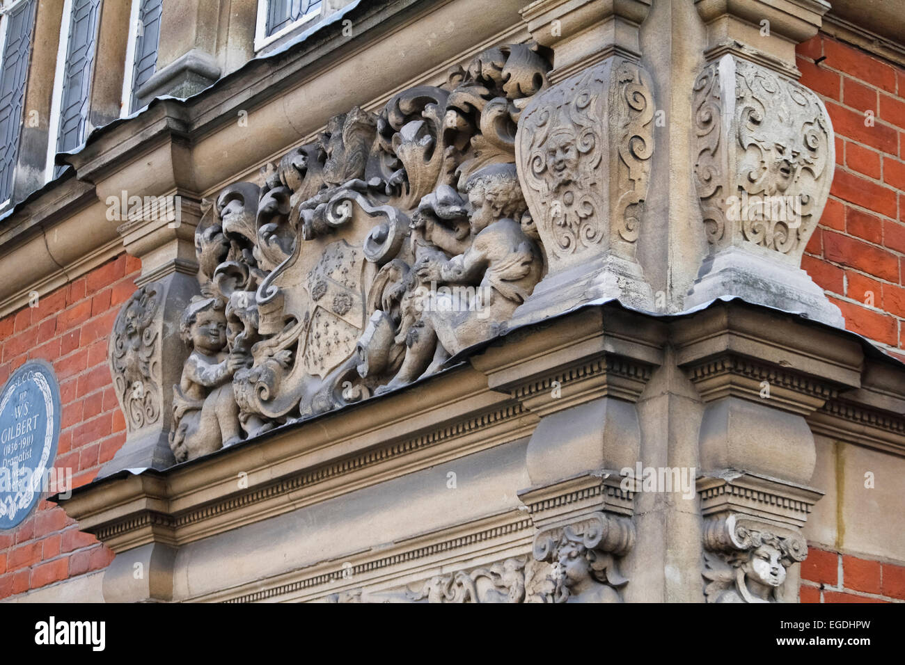 Sculpture on the corner of a London building - Stock Image
