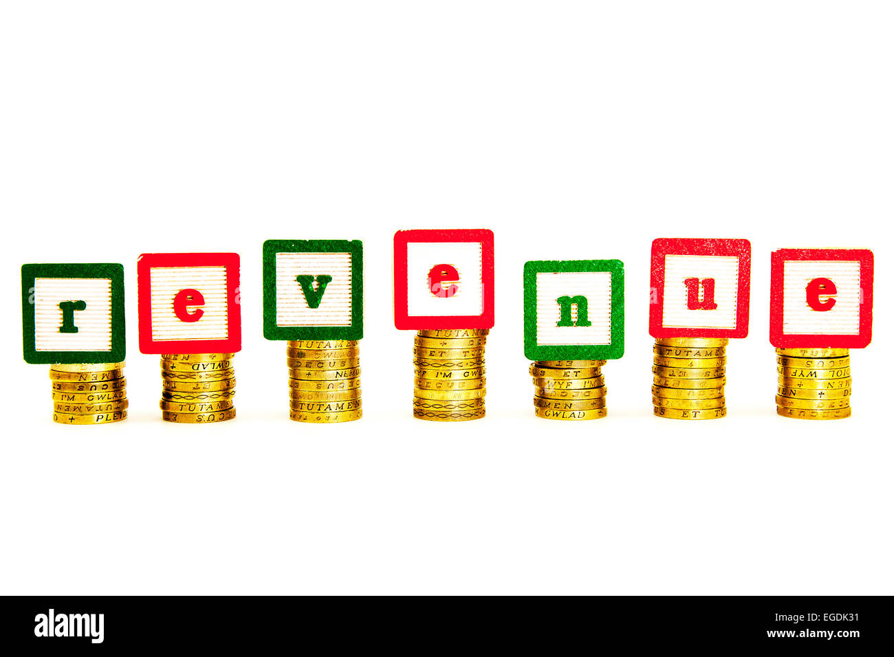 revenue cash collected fund funds money word income tax vat hmrc cut out copy space white background - Stock Image