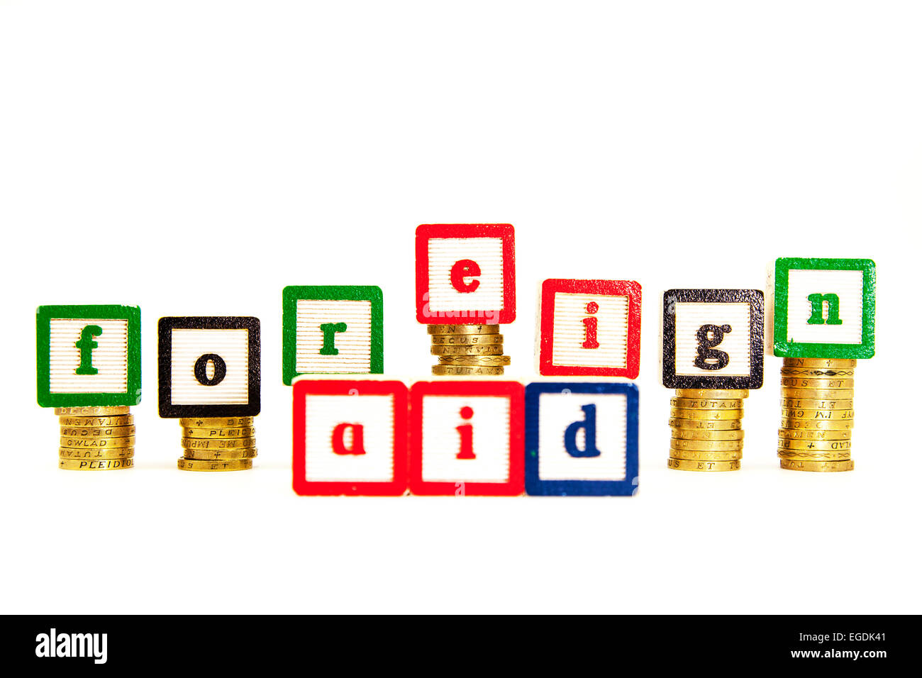 Foreign aid cost price money expence expense help cutout cut out white background copy space - Stock Image