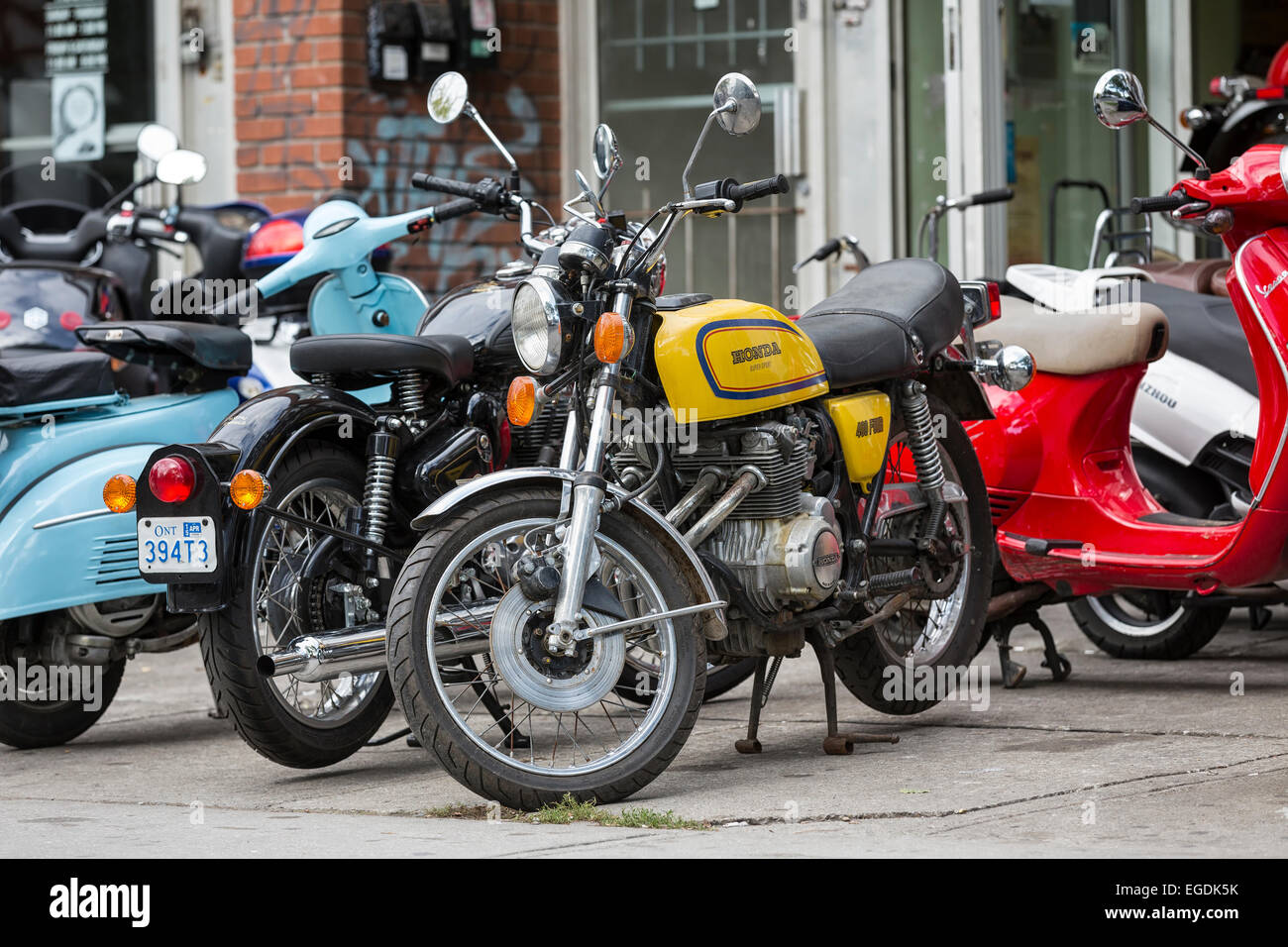 Motorcycles and scooters, downtown Toronto, Ontario, Canada - Stock Image