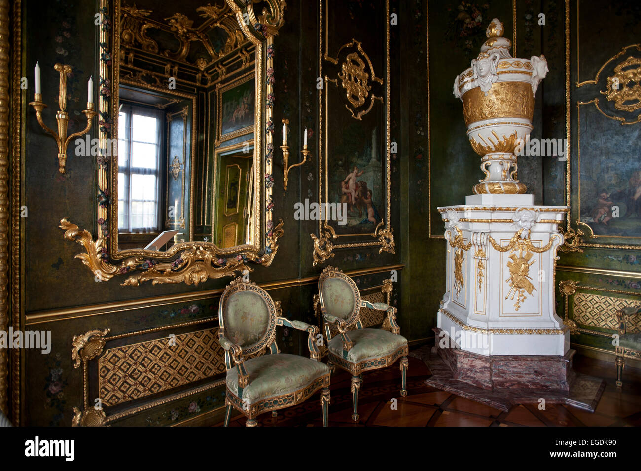 one of the many rooms in the Wuerzburg Residence, Wuerzburg, Franconia, Bavaria, Germany - Stock Image
