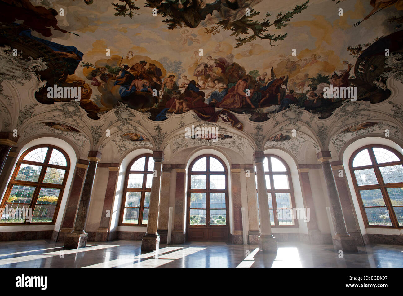 The White Hall, Wuerzburg Residence, Wuerzburg, Franconia, Bavaria, Germany - Stock Image