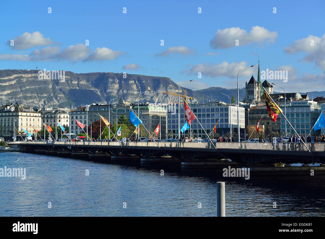 Mont Blanc bridge and cathedral, lake Geneva, Geneva, Switzerland - Stock Image