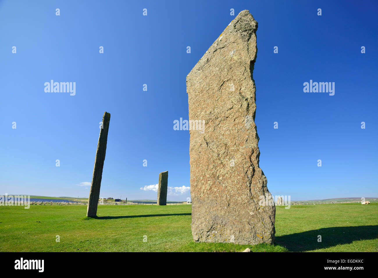 Neolithic monument on the mainland of Orkney, Standing Stones of Stenness, UNESCO World Heritage Site The Heart - Stock Image