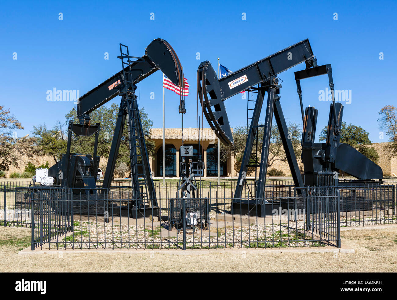 Pumpjacks in front of the Permian Basin Petroleum Museum, Midland, Texas, USA - Stock Image