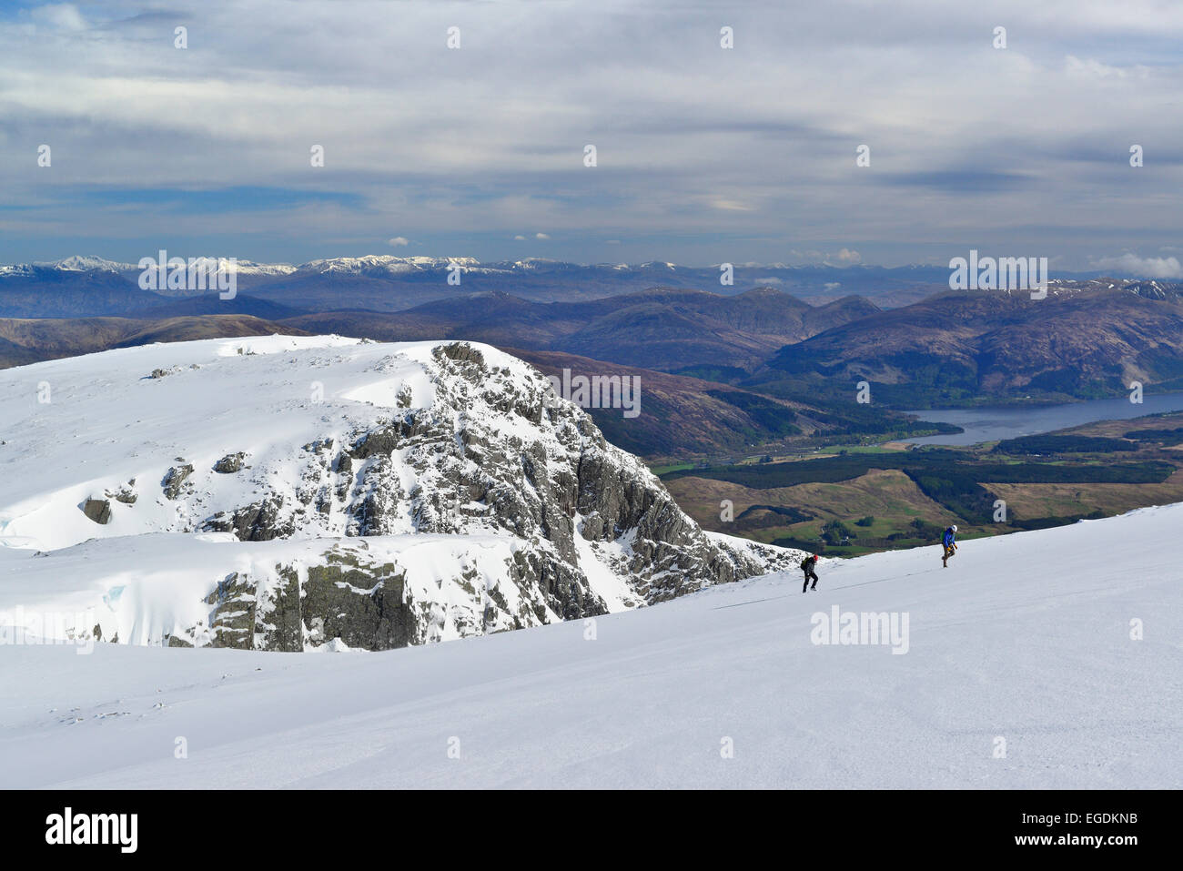 Two persons ascending to Ben Nevis, Ben Nevis, Highland, Scotland, Great Britain, United Kingdom - Stock Image