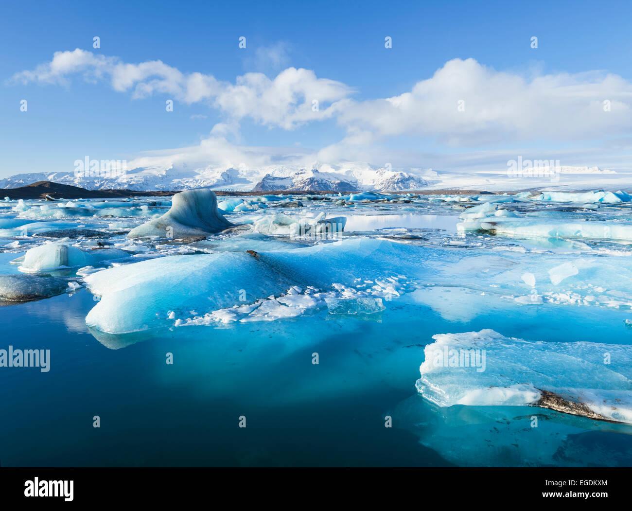 Jokulsarlon Iceberg Lagoon Panorama Jokulsarlon Iceland Europe - Stock Image