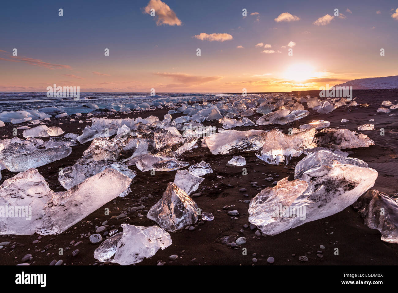 Icebergs and ice on Jokulsarlon black beach at sunset Jokulsarlon Iceland - Stock Image