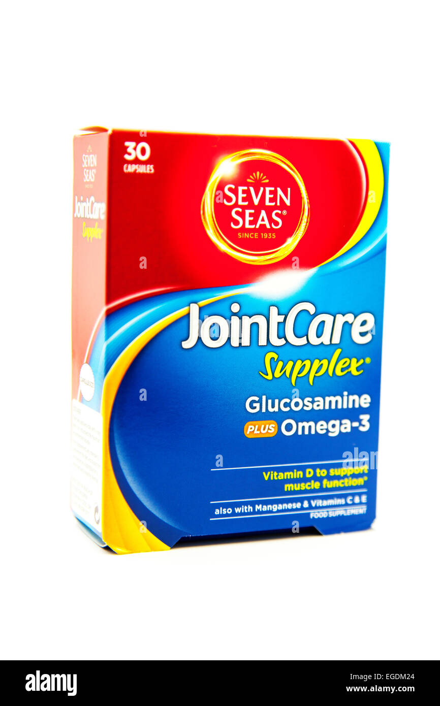 Glucosamine tablets joint care seven seas product medicine supplement box pack packet cut out cutout white background - Stock Image