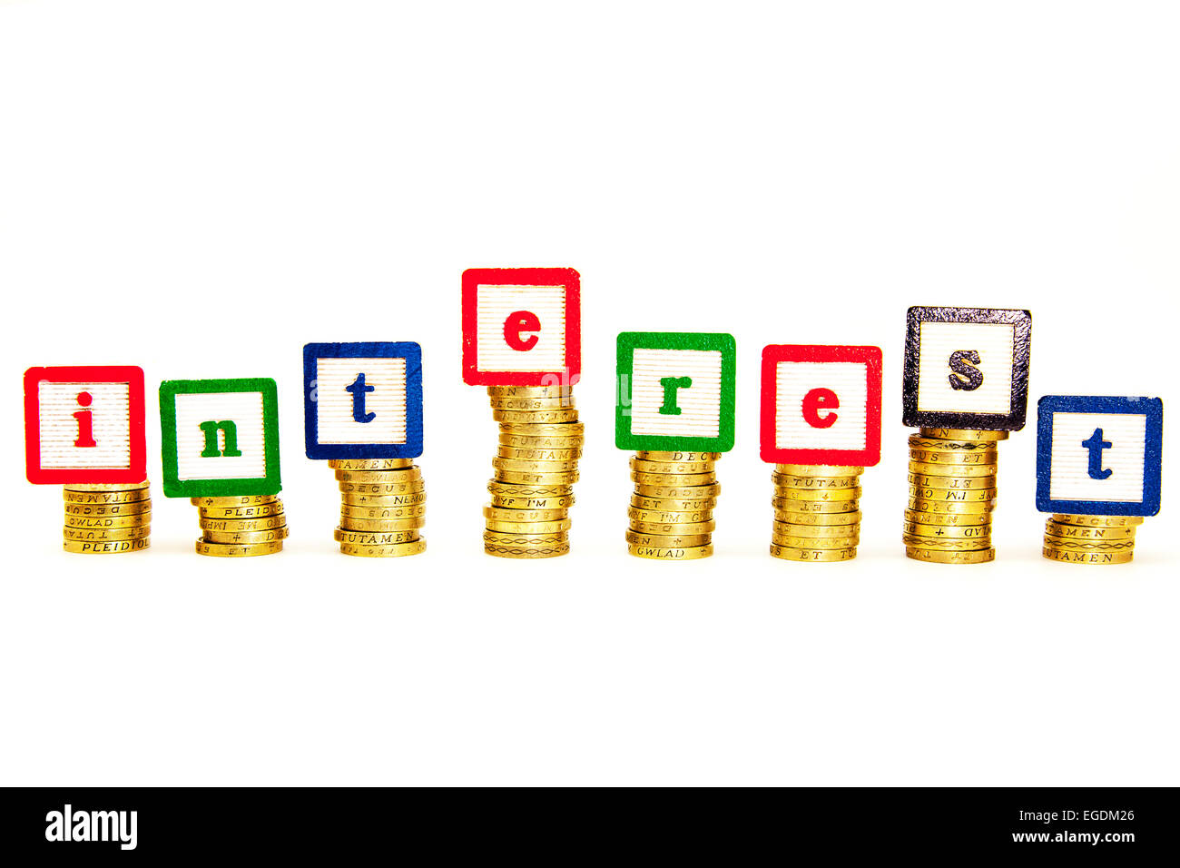 interest rates rate money expense high higher rising rise exchange repayment pay cut out copy space white background - Stock Image