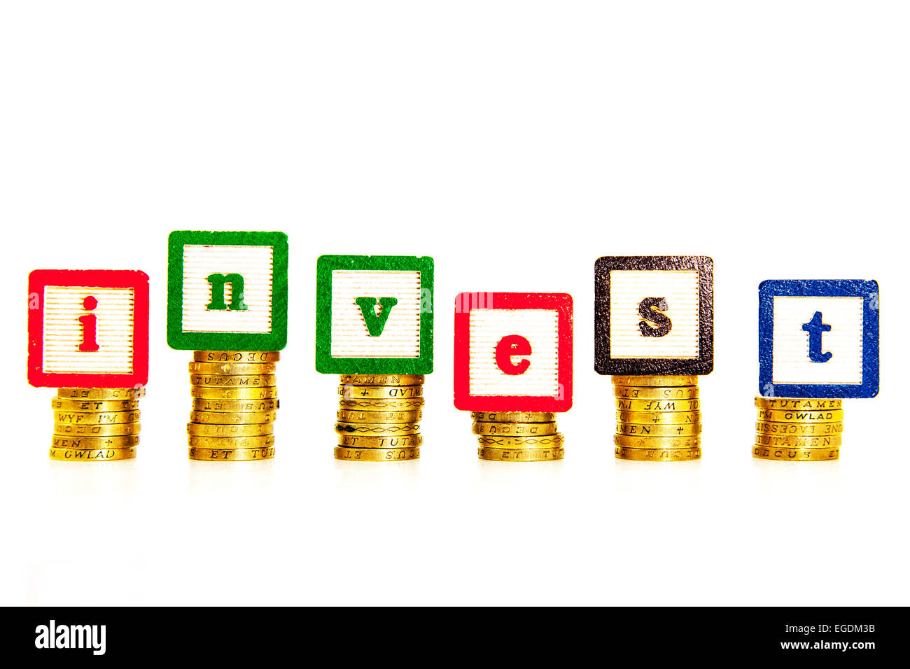 Invest money cash investing investment save saving return shares isa bonds cutout cut out white background copy - Stock Image