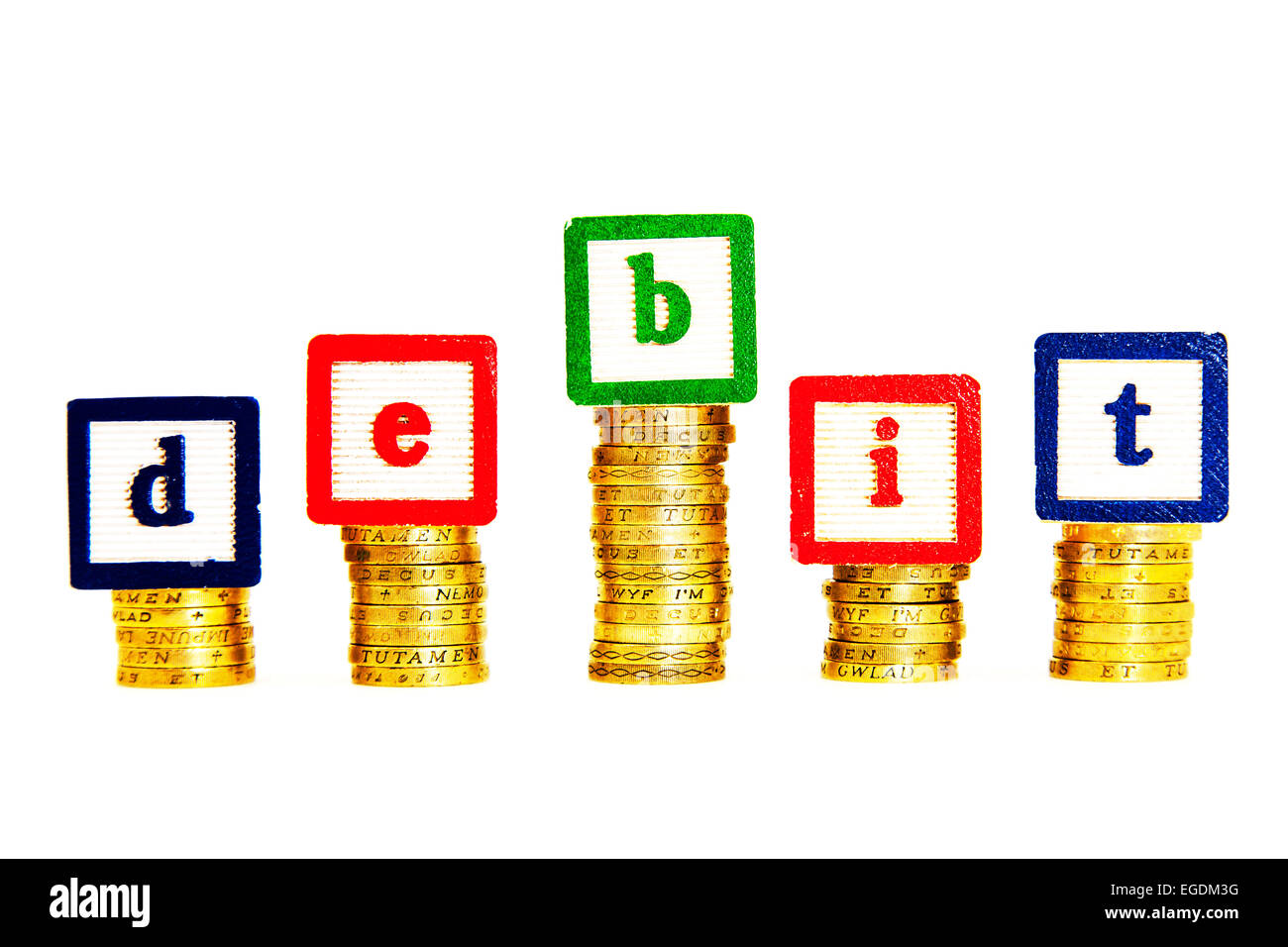 debit card money minus deduct cash pounds debits deducts cutout cut out white background copy space Stock Photo
