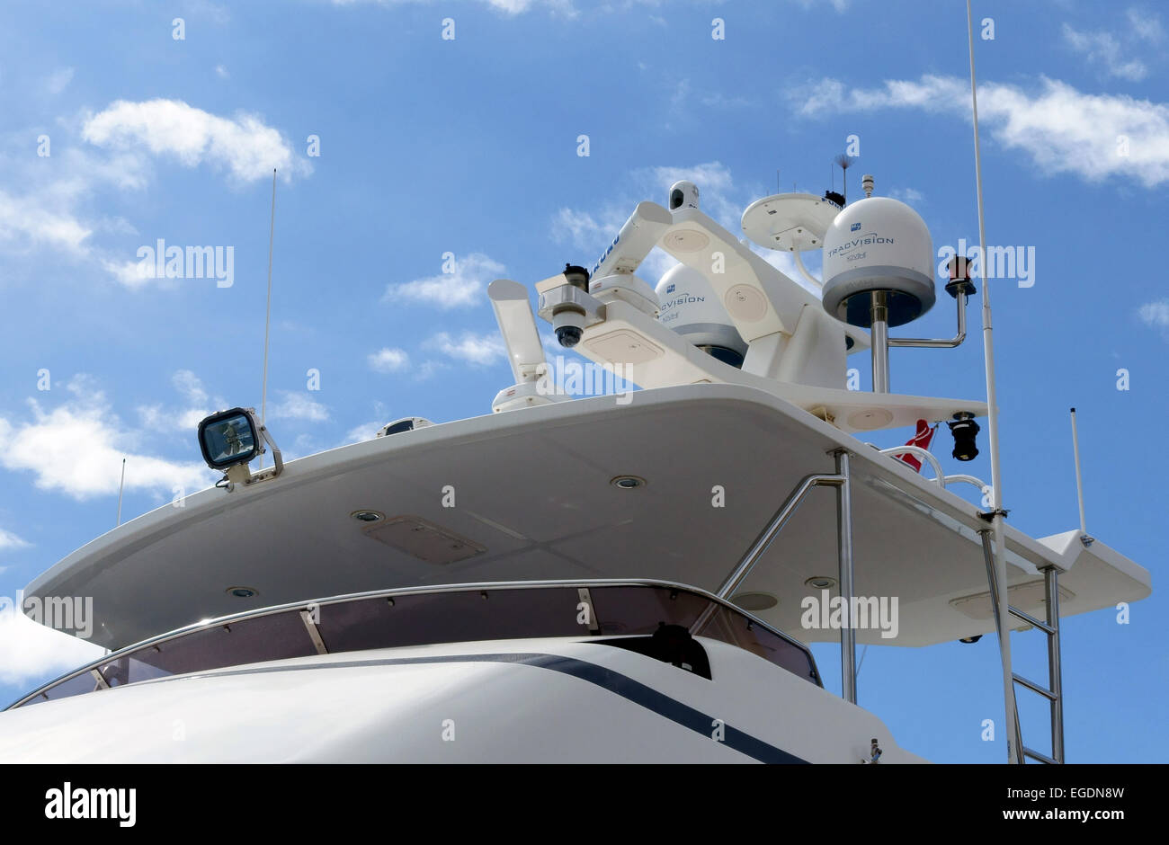 Navigational equipment on a luxury yacht, Canary Islands, Spain - Stock Image