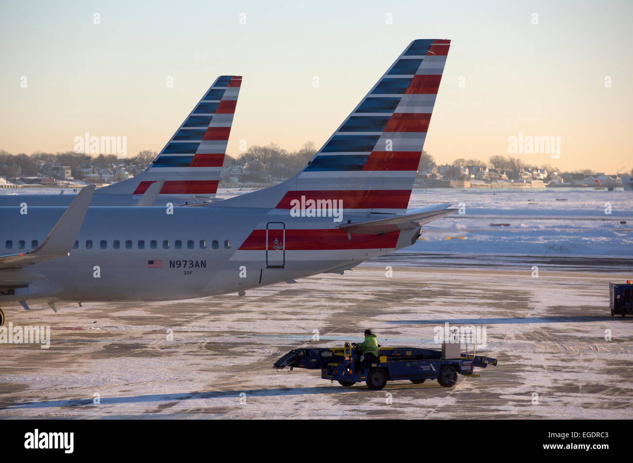 American Airlines jets on the tarmac, Logan International Airport, Boston, Massachusetts - Stock Image