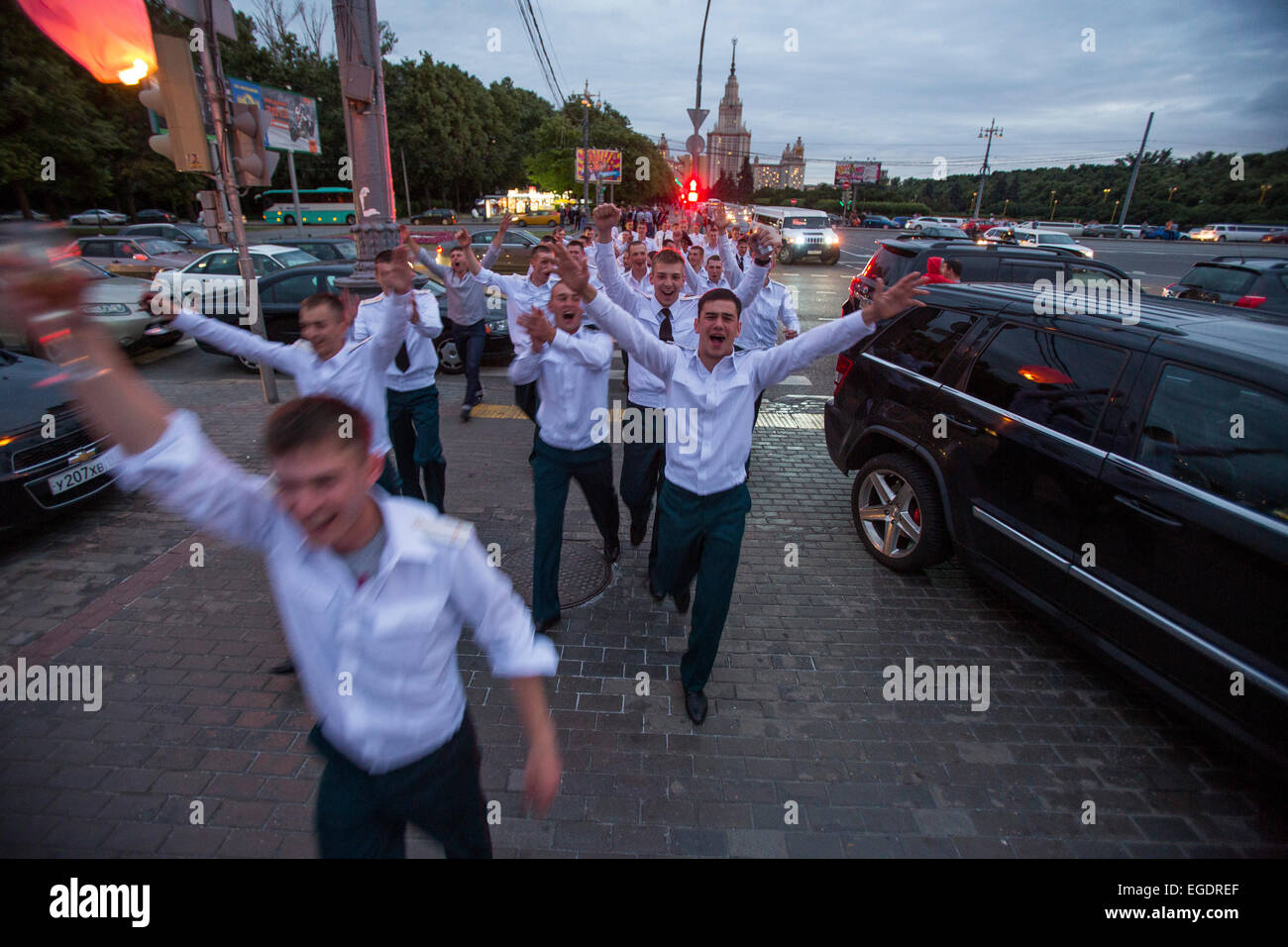 Young officers from a military school partying and celebrating their finals at Sparrow Hills, Moscow, Russia, Europe - Stock Image