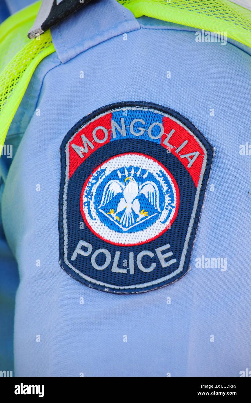 Mongolian police badge , Ulaanbaatar, Mongolia - Stock Image