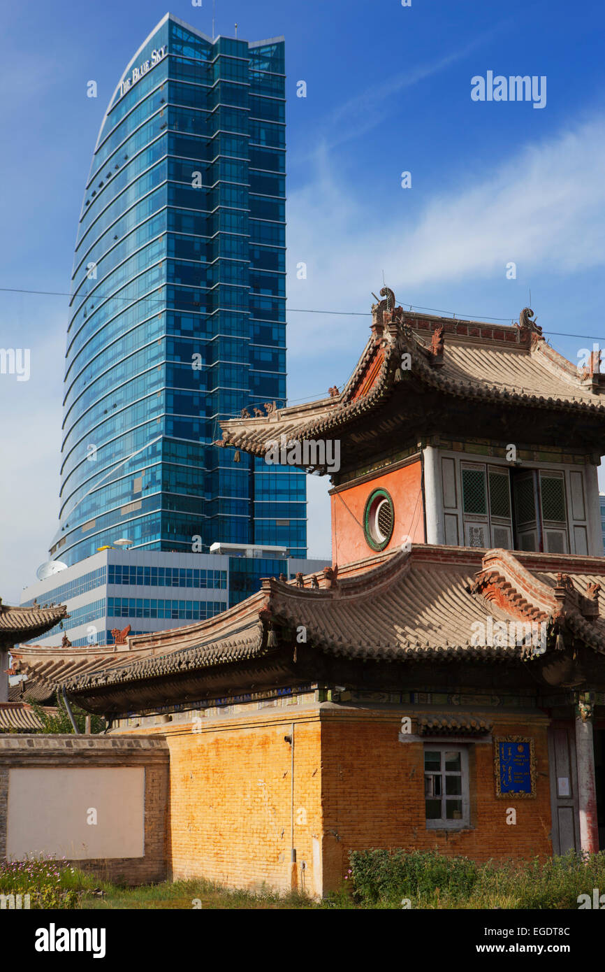 Choijin Lama Temple and Blue Sky Tower, Ulaanbaatar, Mongolia Stock Photo