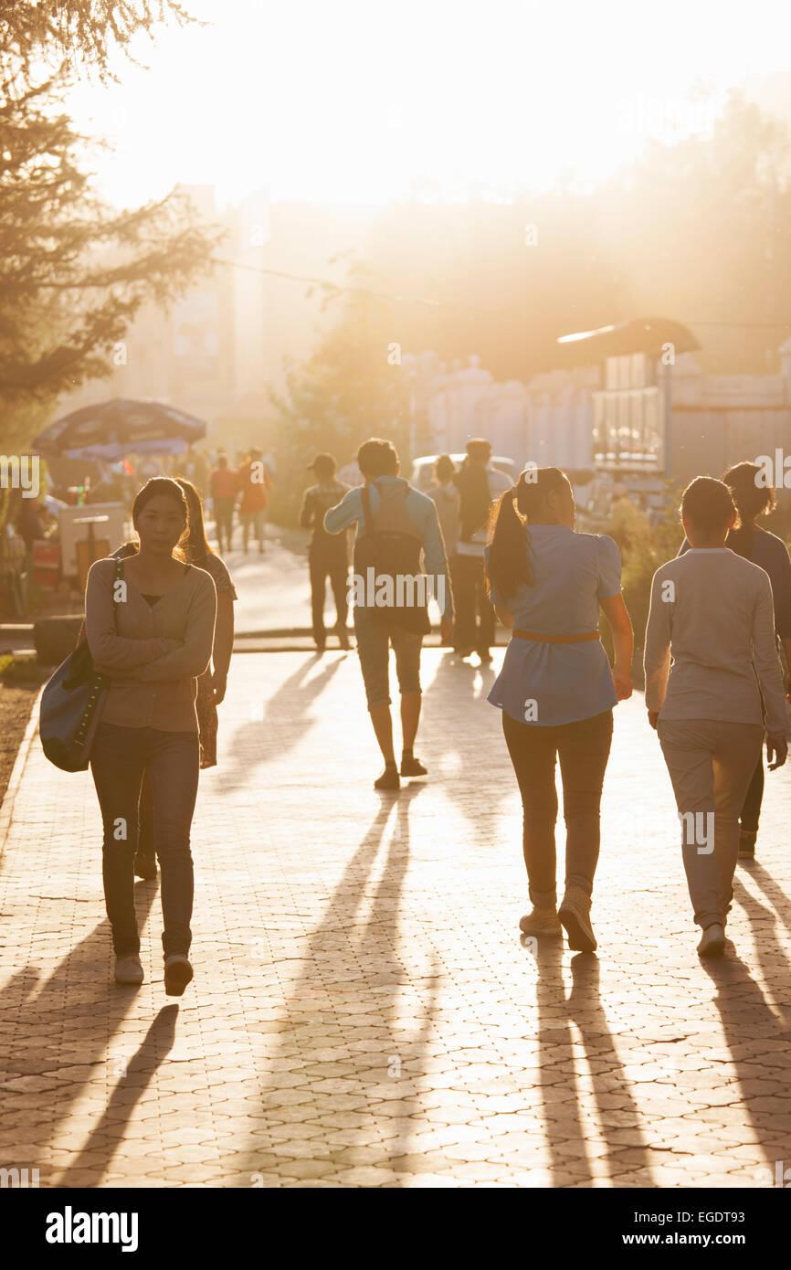Pedestrians on Peace Avenue, Ulaanbaatar, Mongolia - Stock Image
