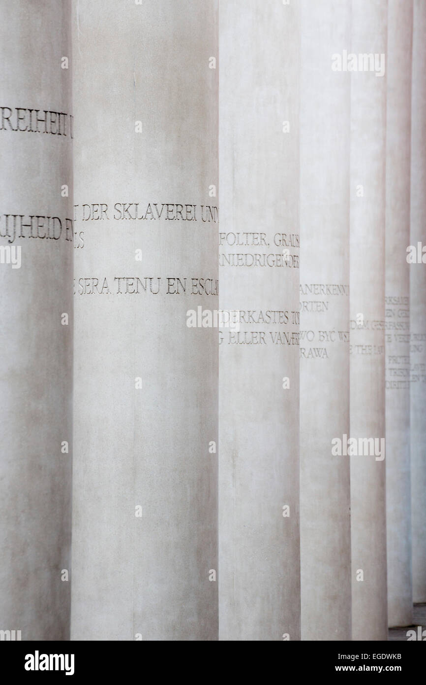 Pillars along the way of human rights display, Strasse der Menschenrechte, outside the museum of cultural history, - Stock Image
