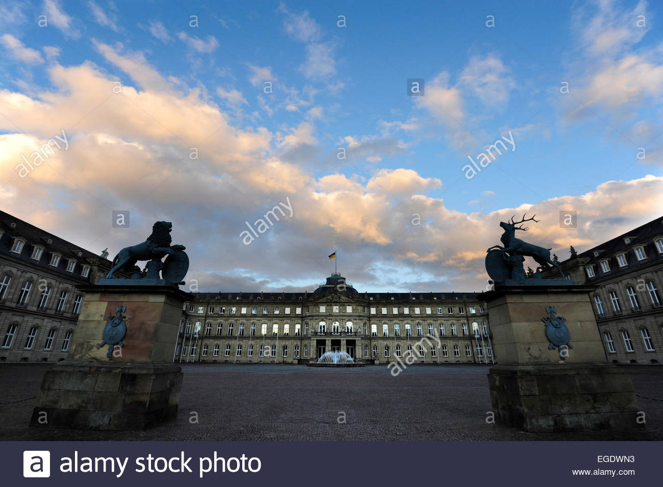 New castle Neues Schloss in twilight, domicile of the ministry of finance, palace at the Schlossplatz square, Stuttgart, - Stock Image
