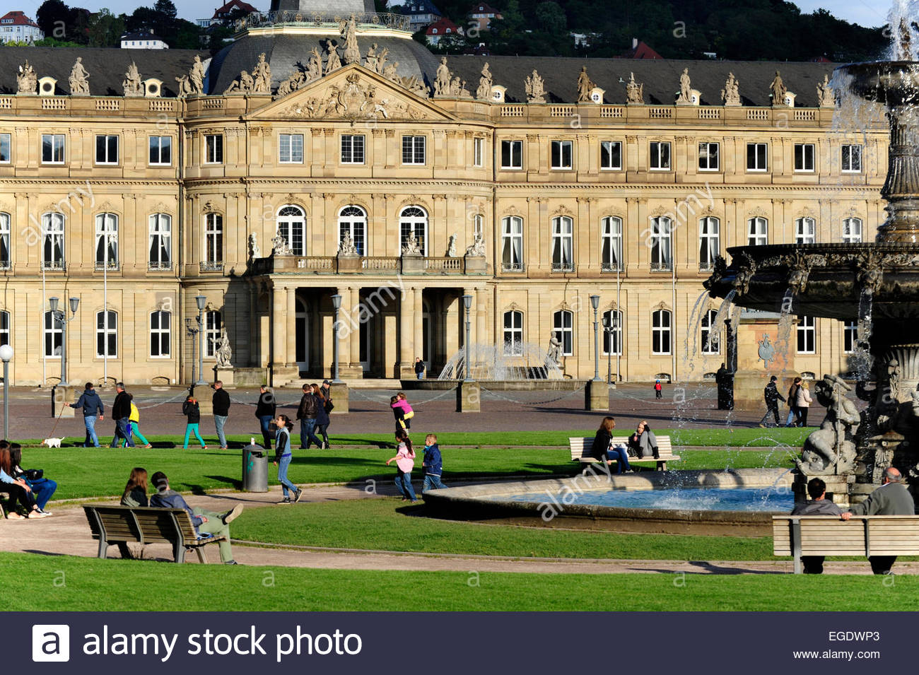 New palace, Neues Schloss, domicile of the ministry of finance, palace at the Schlossplatz square, Stuttgart, capital - Stock Image