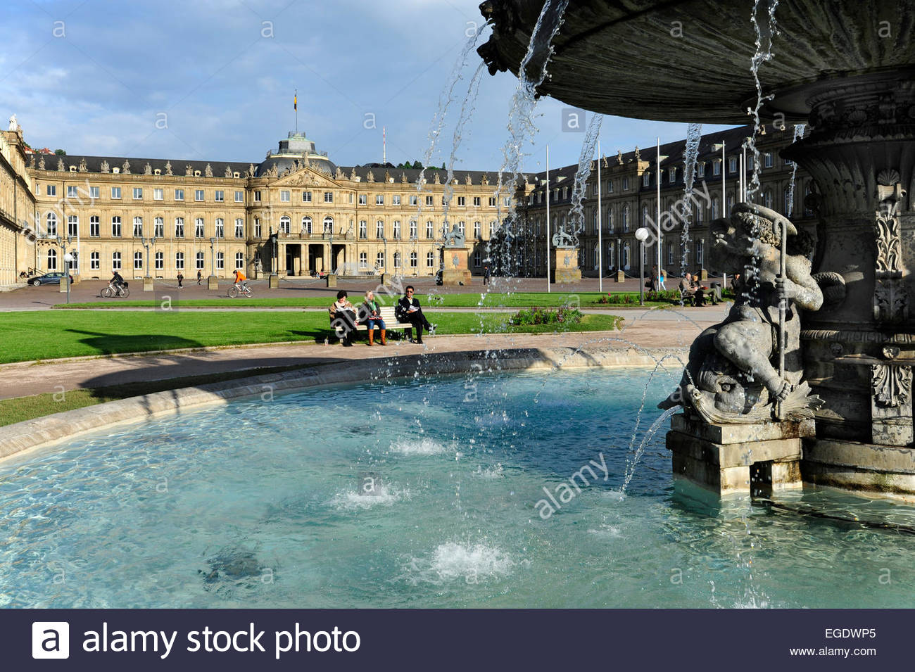 New palace, Neues Schloss behind fountain, domicile of the ministry of finance, palace at the Schlossplatz square, - Stock Image