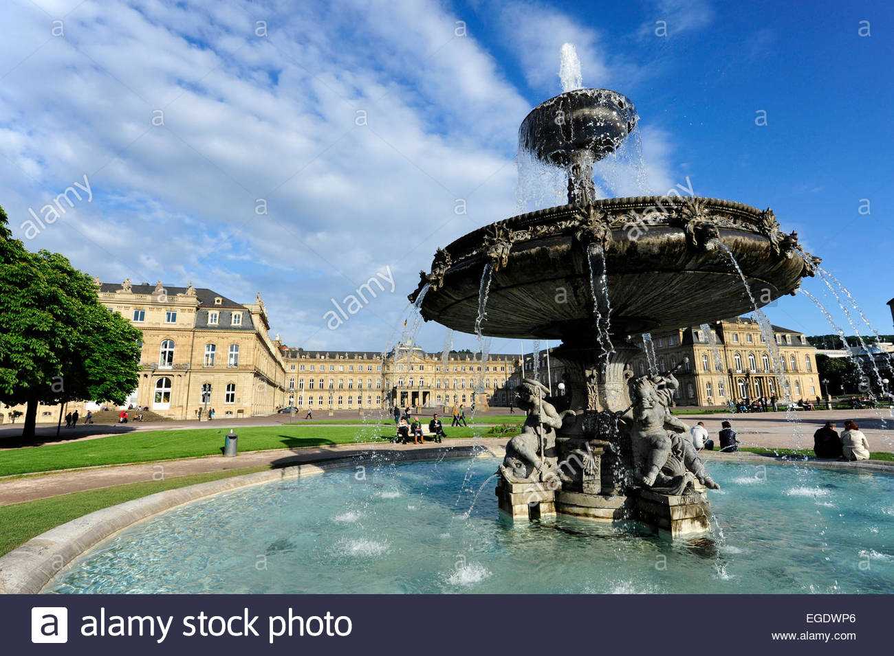 New castle Neues Schloss behind fountain, domicile of the ministry of finance, palace at the Schlossplatz square, - Stock Image