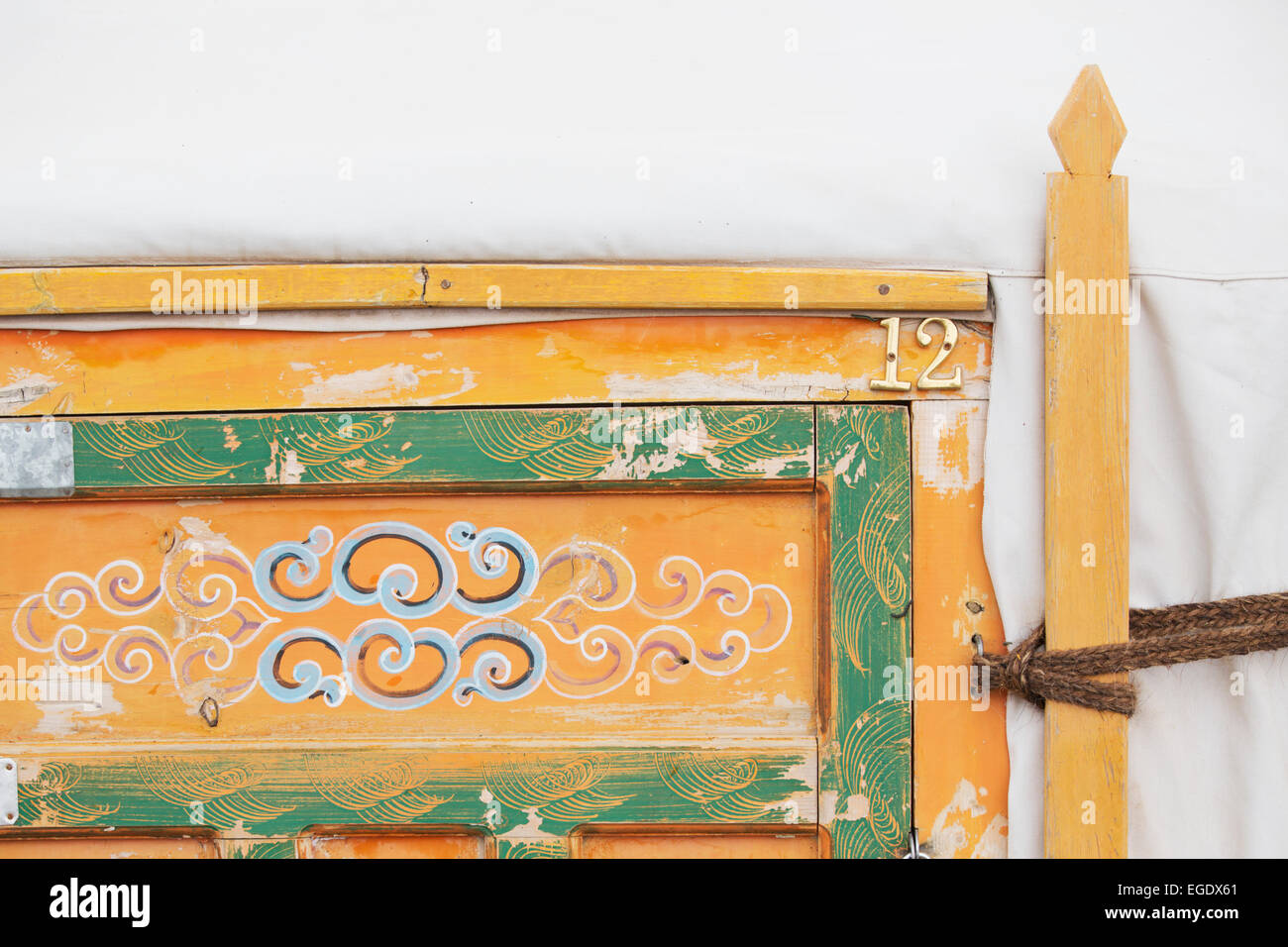 Detail of Ger door, Tuv, Mongolia - Stock Image