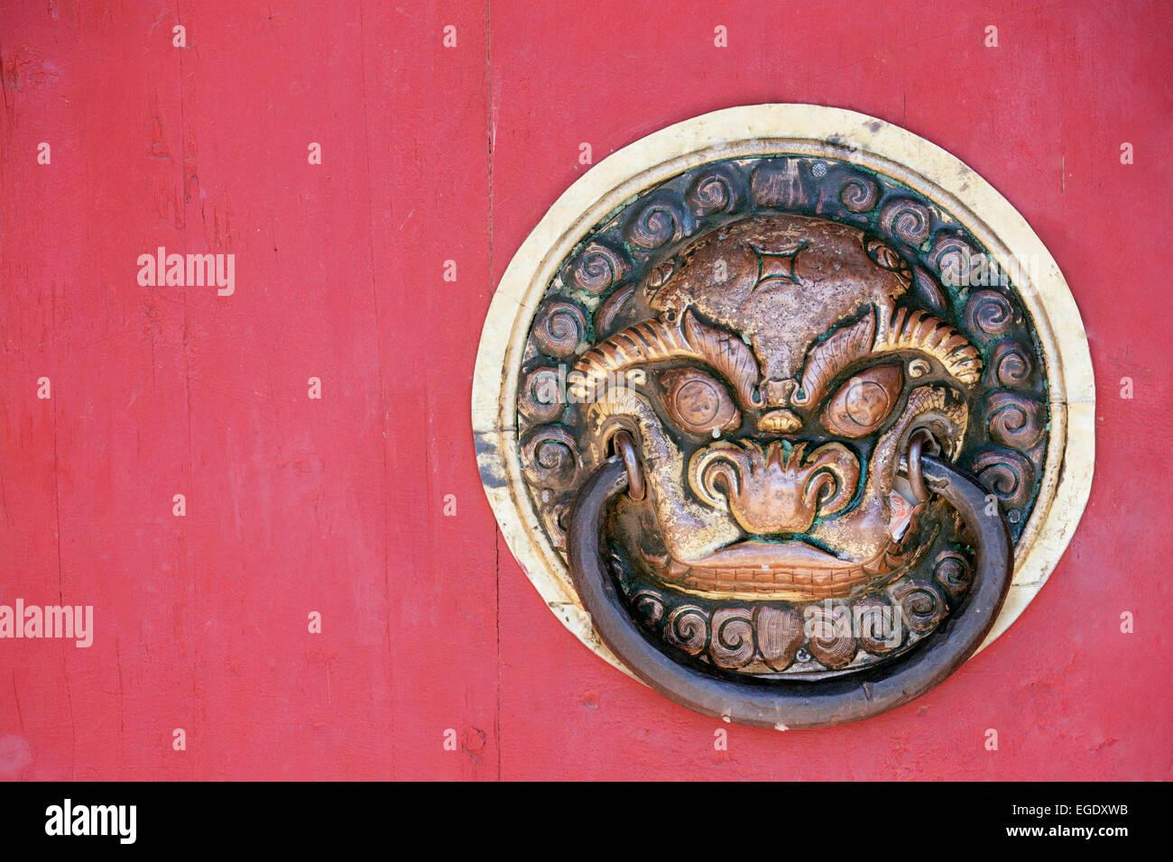 Door knocker at Erdene Zuu Khiid, Kharkhorin, Ovorkhangai, Mongolia - Stock Image