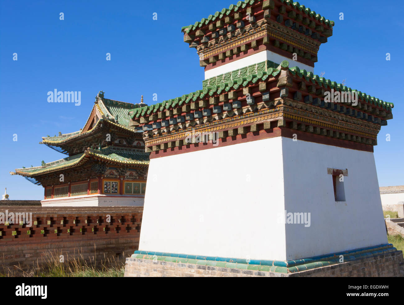 Temples at Erdene Zuu Khiid, Kharkhorin, Ovorkhangai, Mongolia - Stock Image