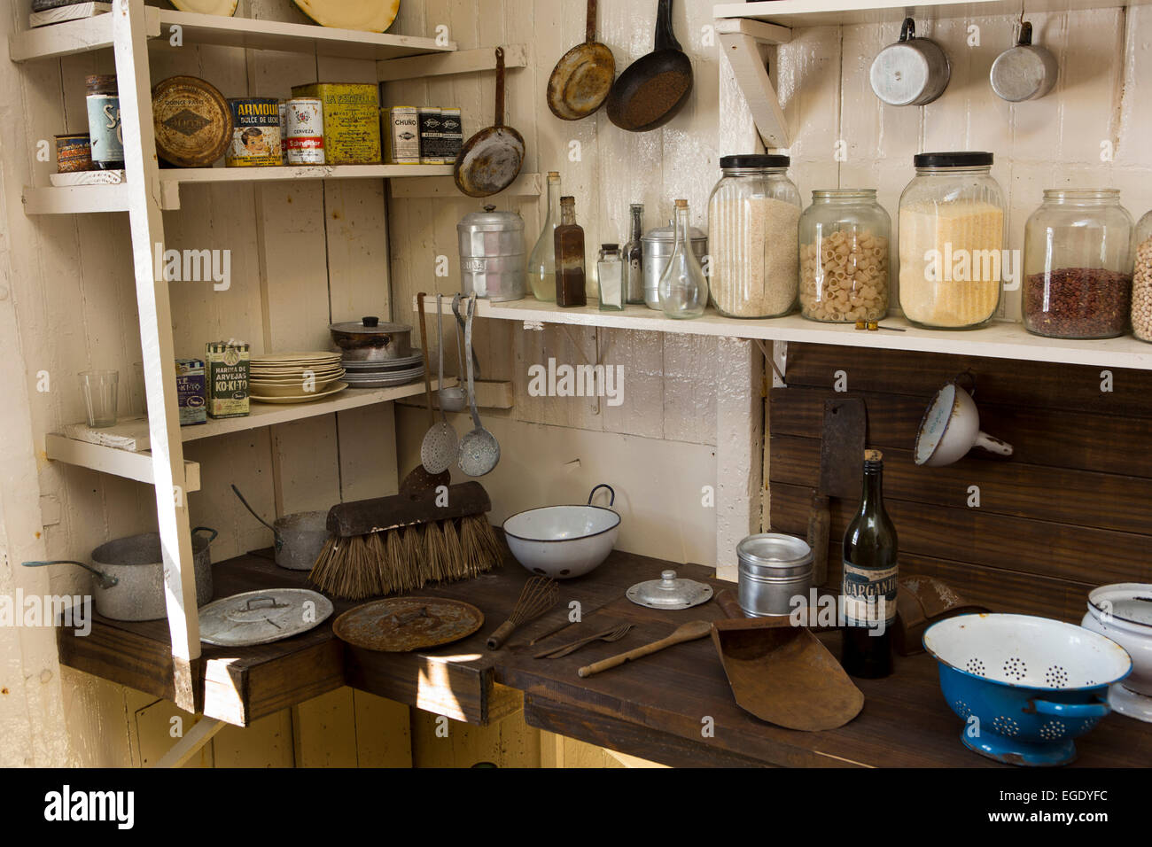 South Orkney Islands, Laurie Island, Orcadas base museum, hut kitchen - Stock Image