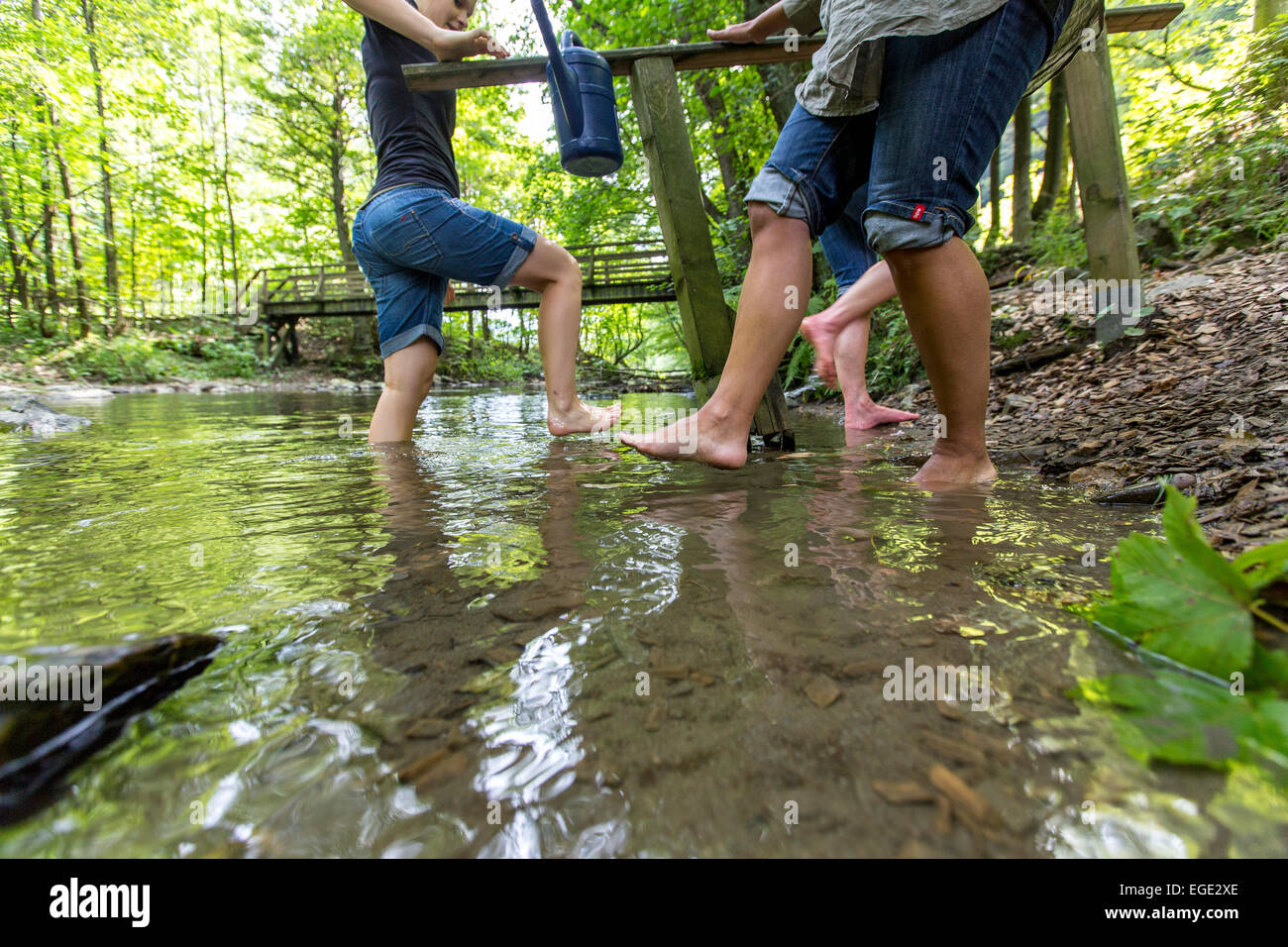 Kneipp cure, hydrotherapy in river Ruhr, a theme hiking path in the Sauerland region, Germany, - Stock Image