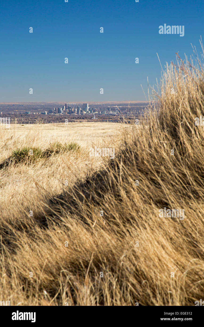 Golden, Colorado - Downtown Denver from North Table Mountain, a mesa above Denver which is designated an 'open - Stock Image