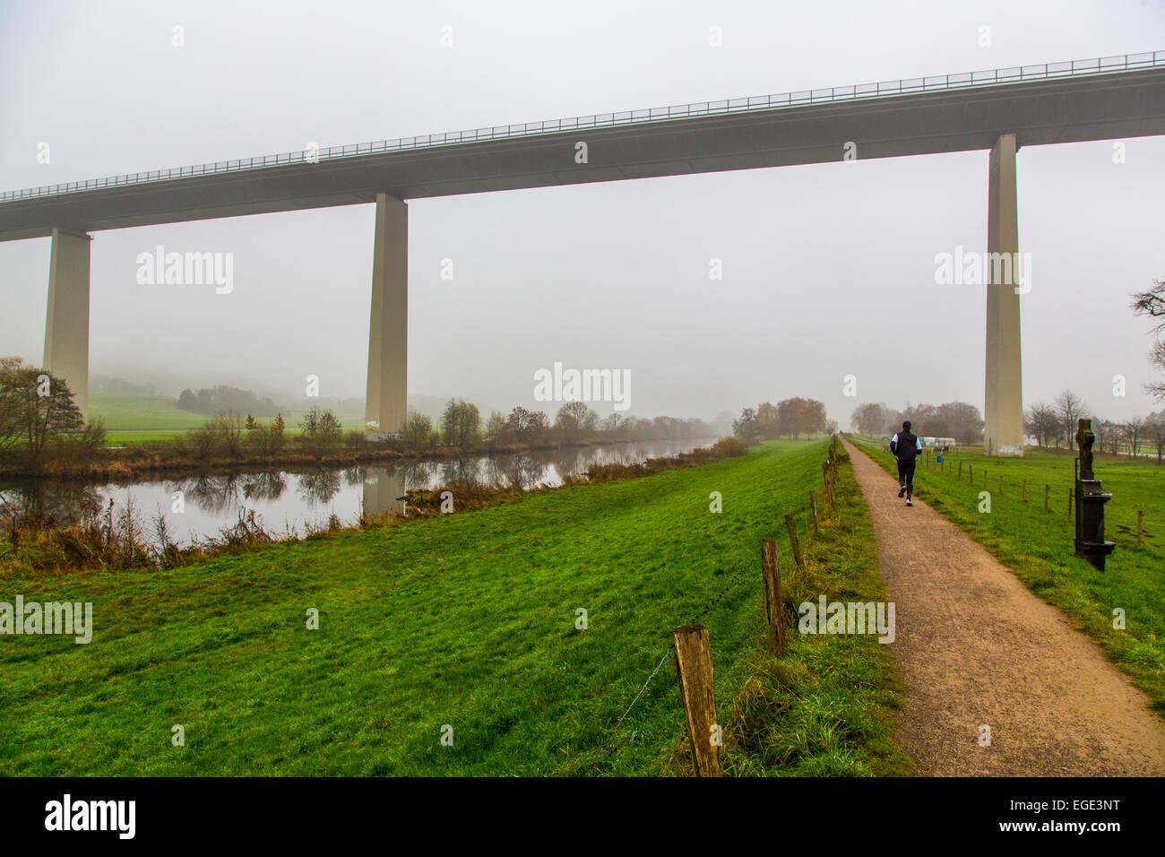 'Ruhrtalbrücke ' bridge over the Ruhr valley, Autobahn bridge, highway bridge, river Ruhr, - Stock Image