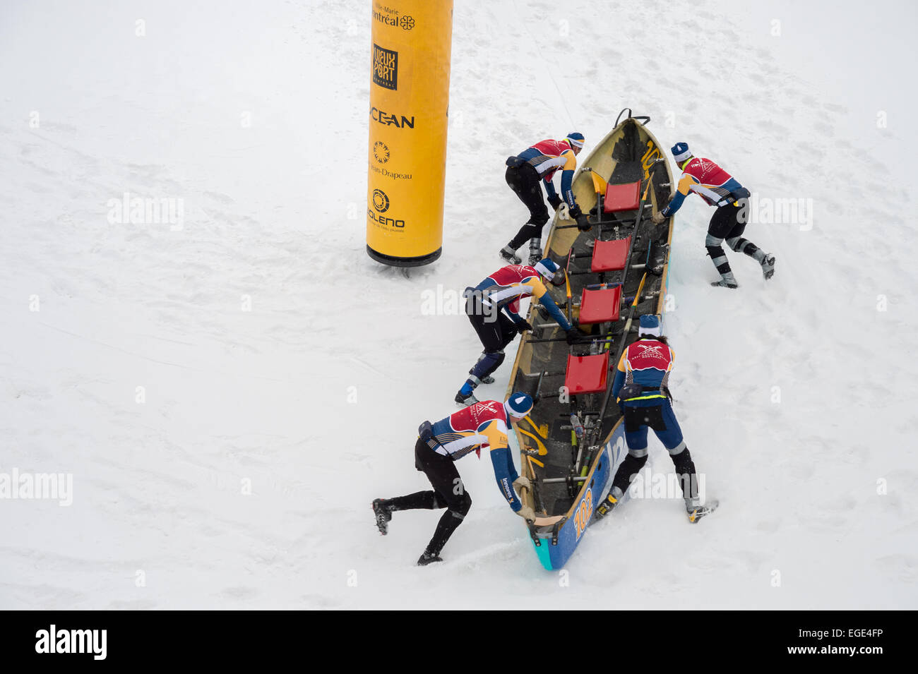 MONTREAL - FEBRUARY 21, 2015. A team progresses on the ice at the Montreal Ice Canoe Challenge - Stock Image