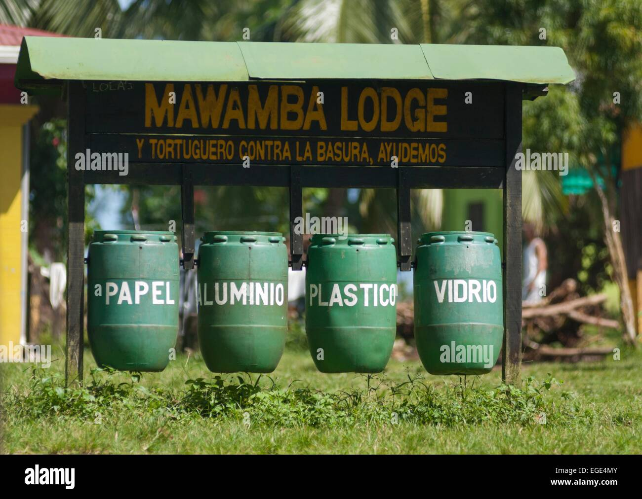 Costa Rica. National park of Tortuguero, Mawamba lodge, recycling trash cans - Stock Image