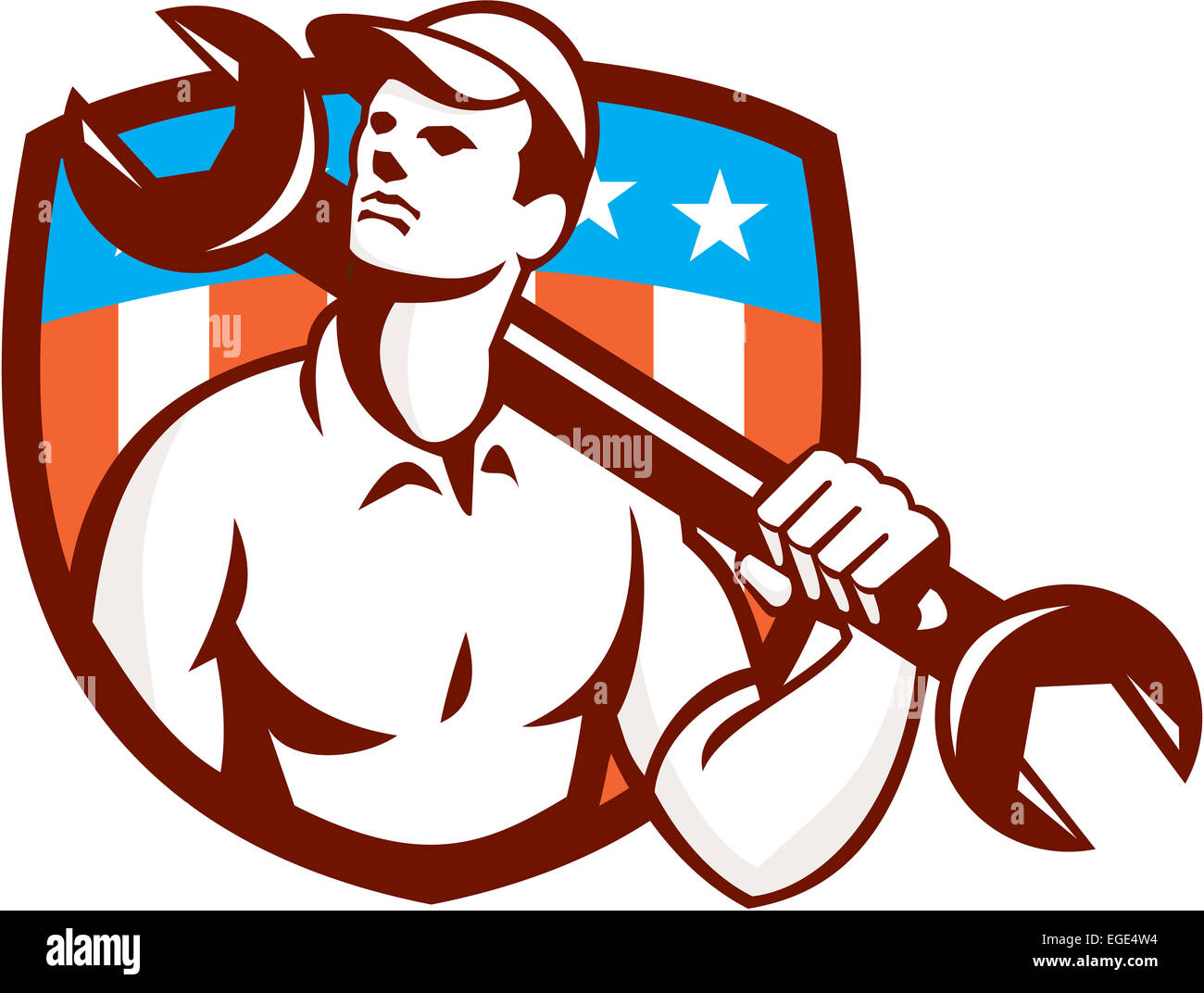 Illustration of a mechanic wearing hat holding spanner wrench on shoulder  looking up to the side set inside shield crest with american usa stars and  stripes ... 3bf47ab44