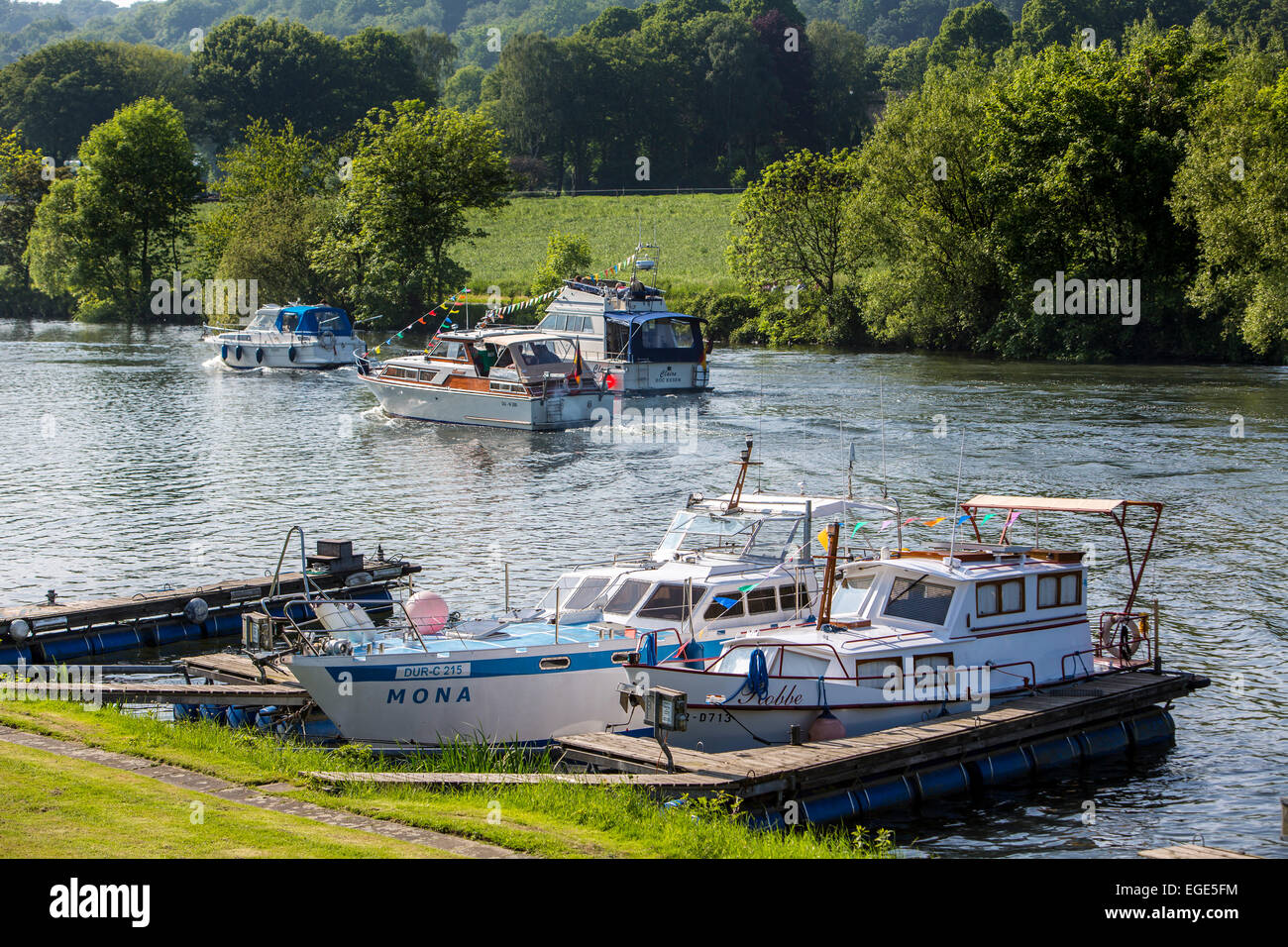 Motor yachts on river Ruhr, Essen, Germany - Stock Image