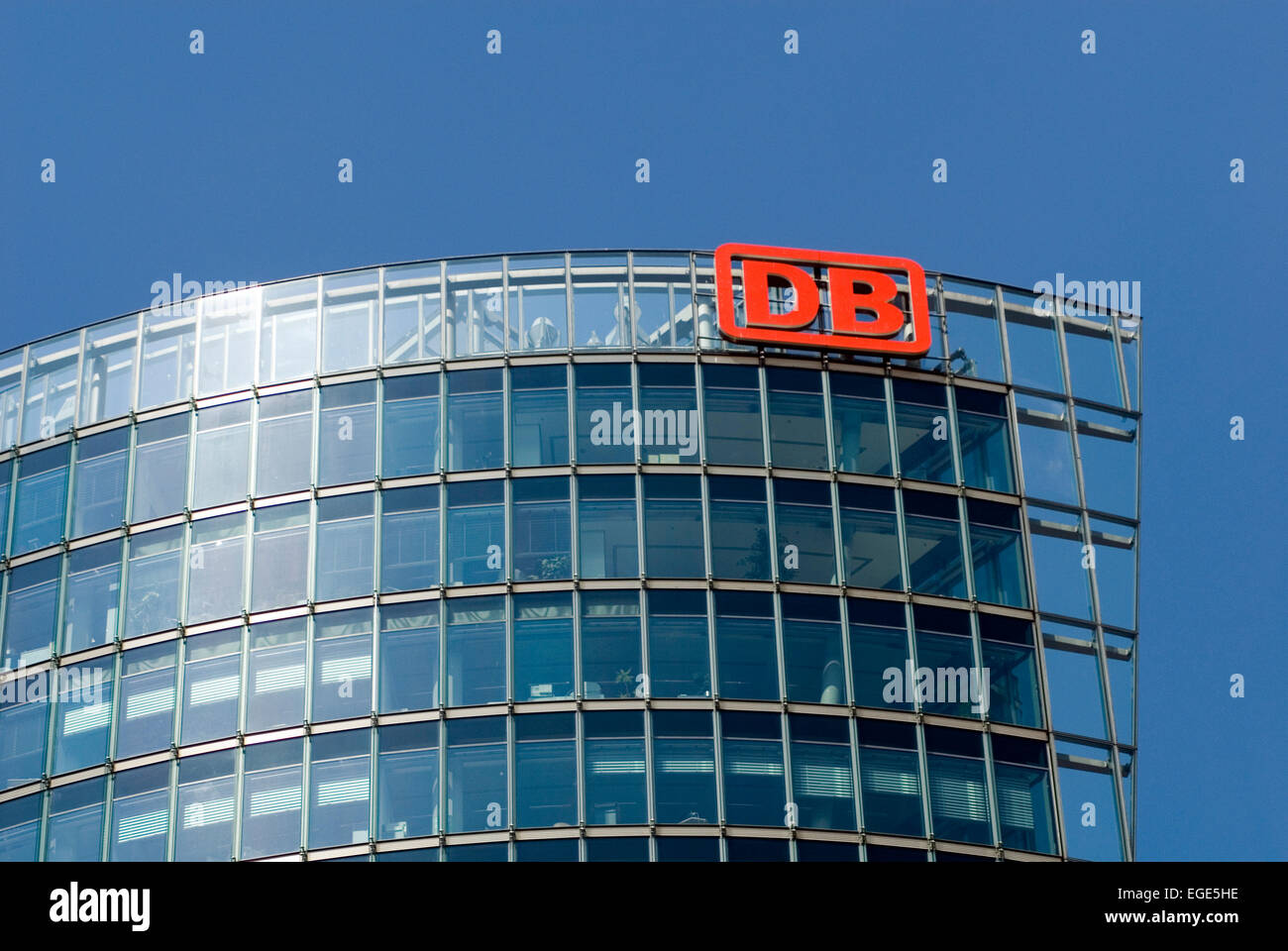 Germany Berlin DB Tower at the Potsdamer Square. Detail of facade with logo Head office of the German Railways - Stock Image