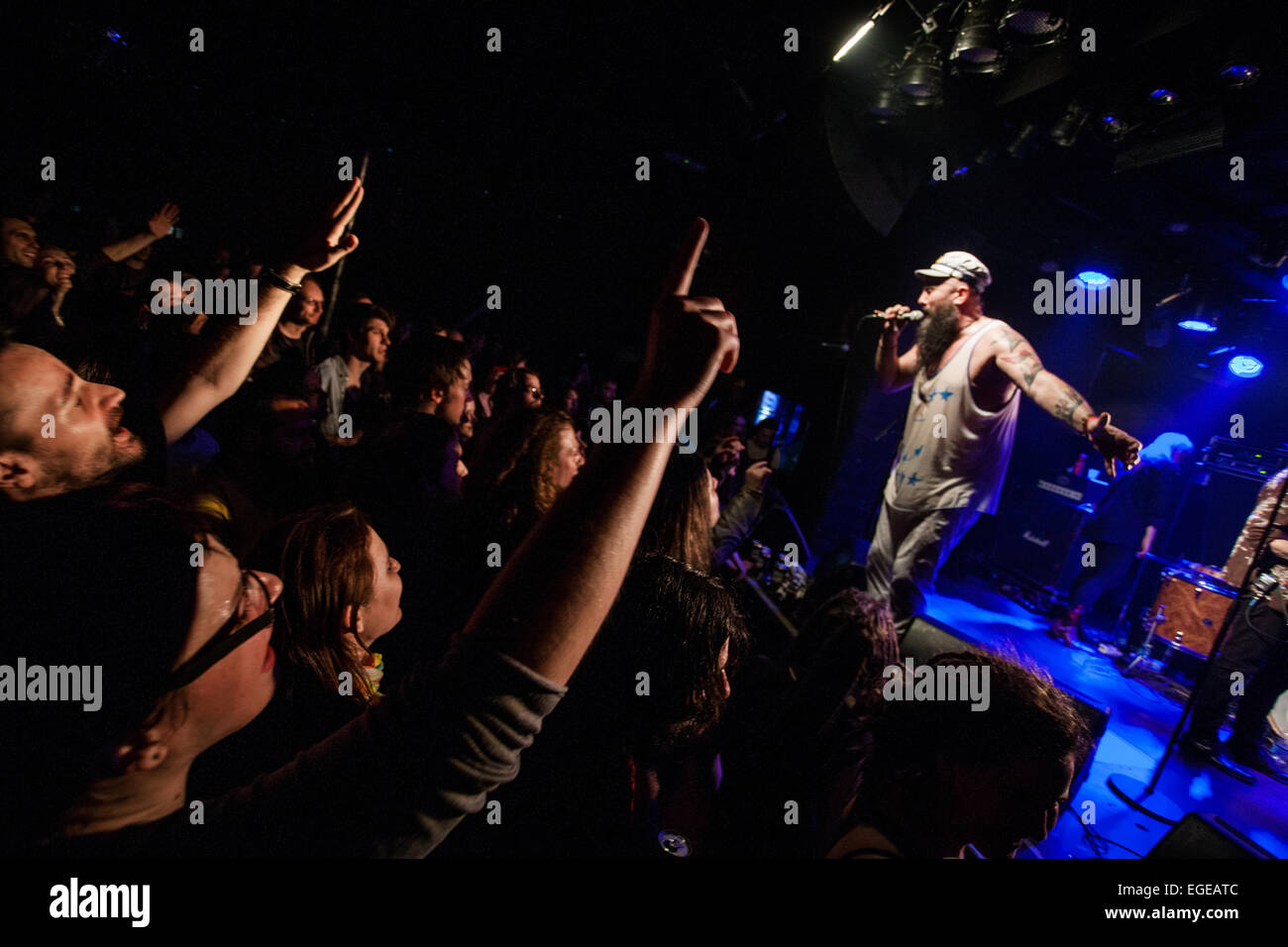 Ljubljana, Slovenia. 23rd February, 2015. Concert of Seatlle basled gypsy-punk band Kultur Shock , which mix Rock, - Stock Image