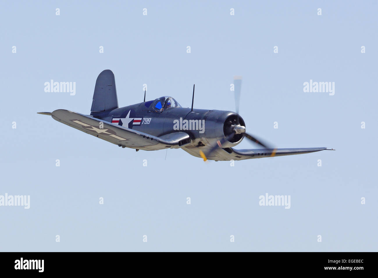 WWII F-4U Corsair Flying at the 2014 Chino Air show - Stock Image