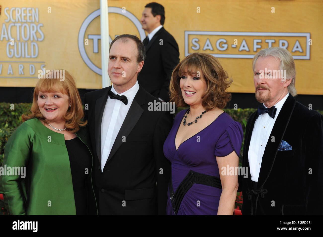 LOS ANGELES, CA - JANUARY 18, 2014: Downton Abbey stars Lesley Nicol, Kevin Doyle, Phyllis Logan & David Robb - Stock Image