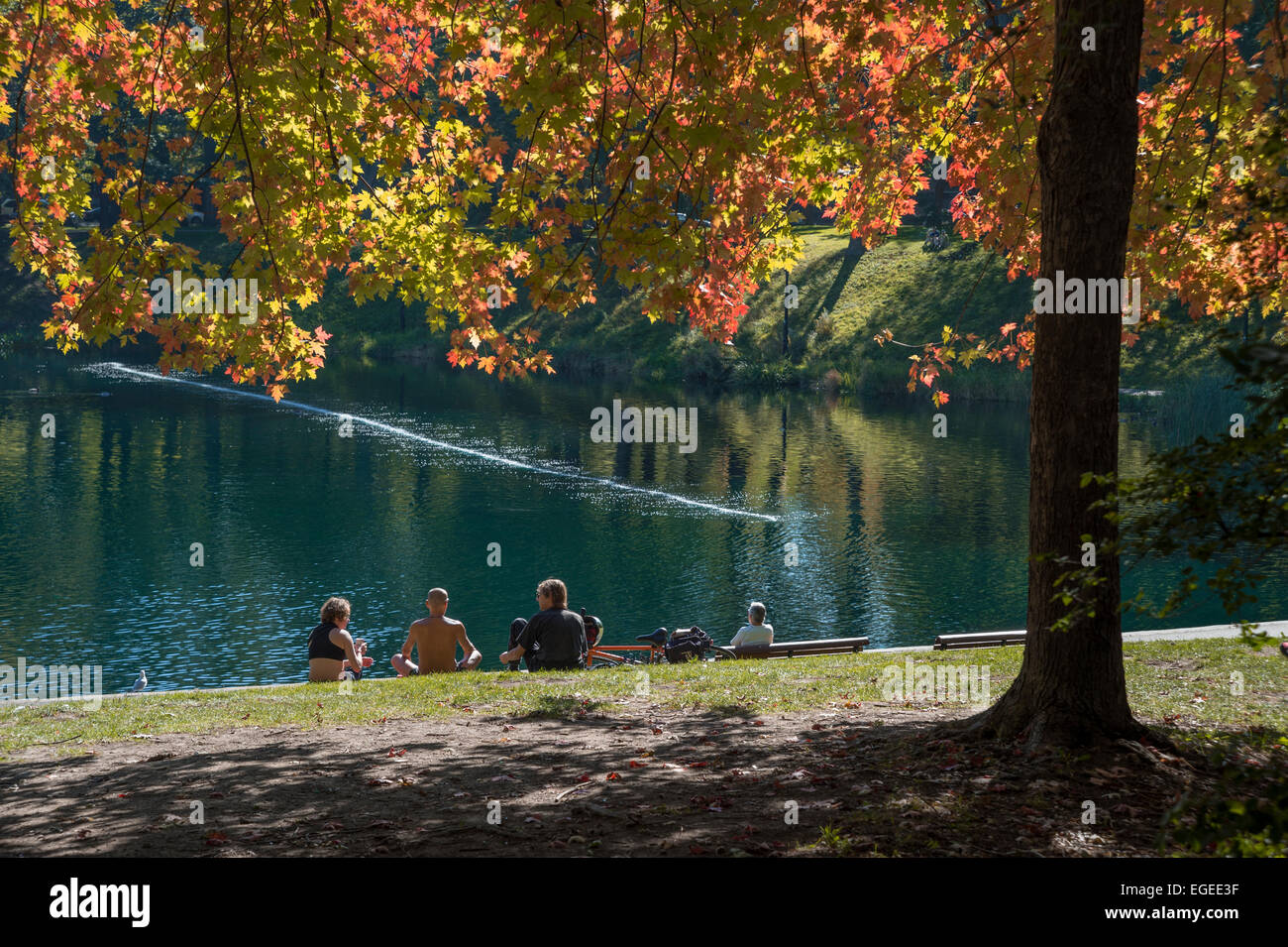A group of people sitting on the grass, in front of the beautiful lake, in fall, in Lafontaine Park in Montreal - Stock Image