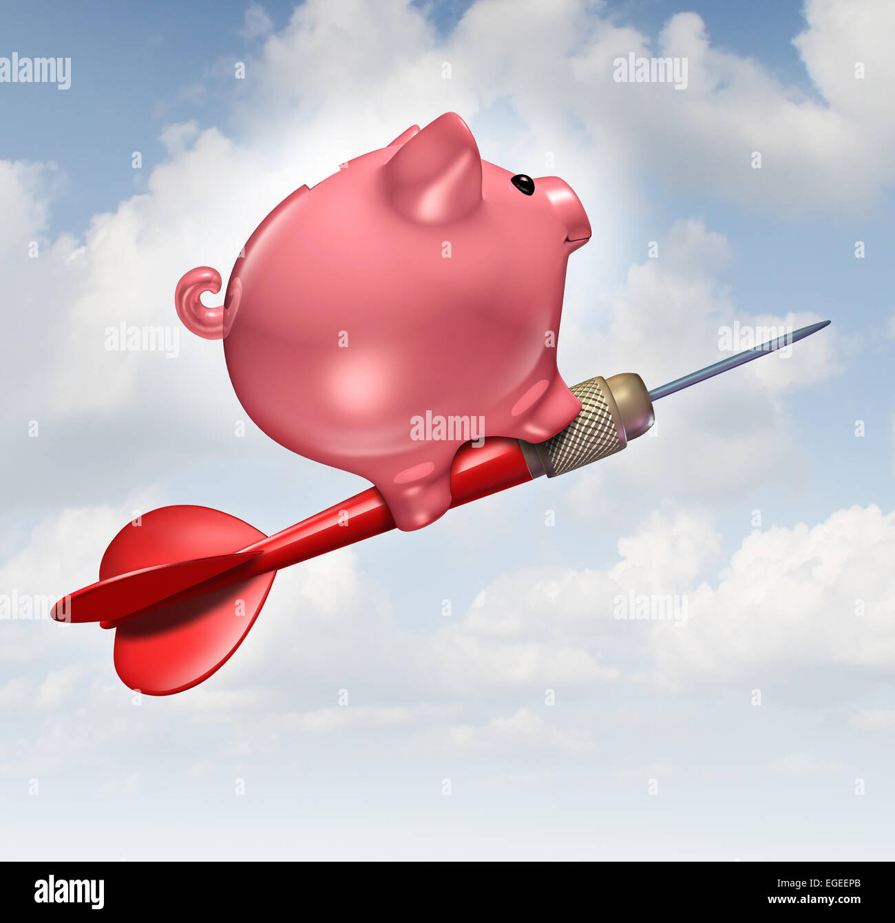 Budget goal and financial advice business concept as a piggybank character riding a red dart as a financial success - Stock Image