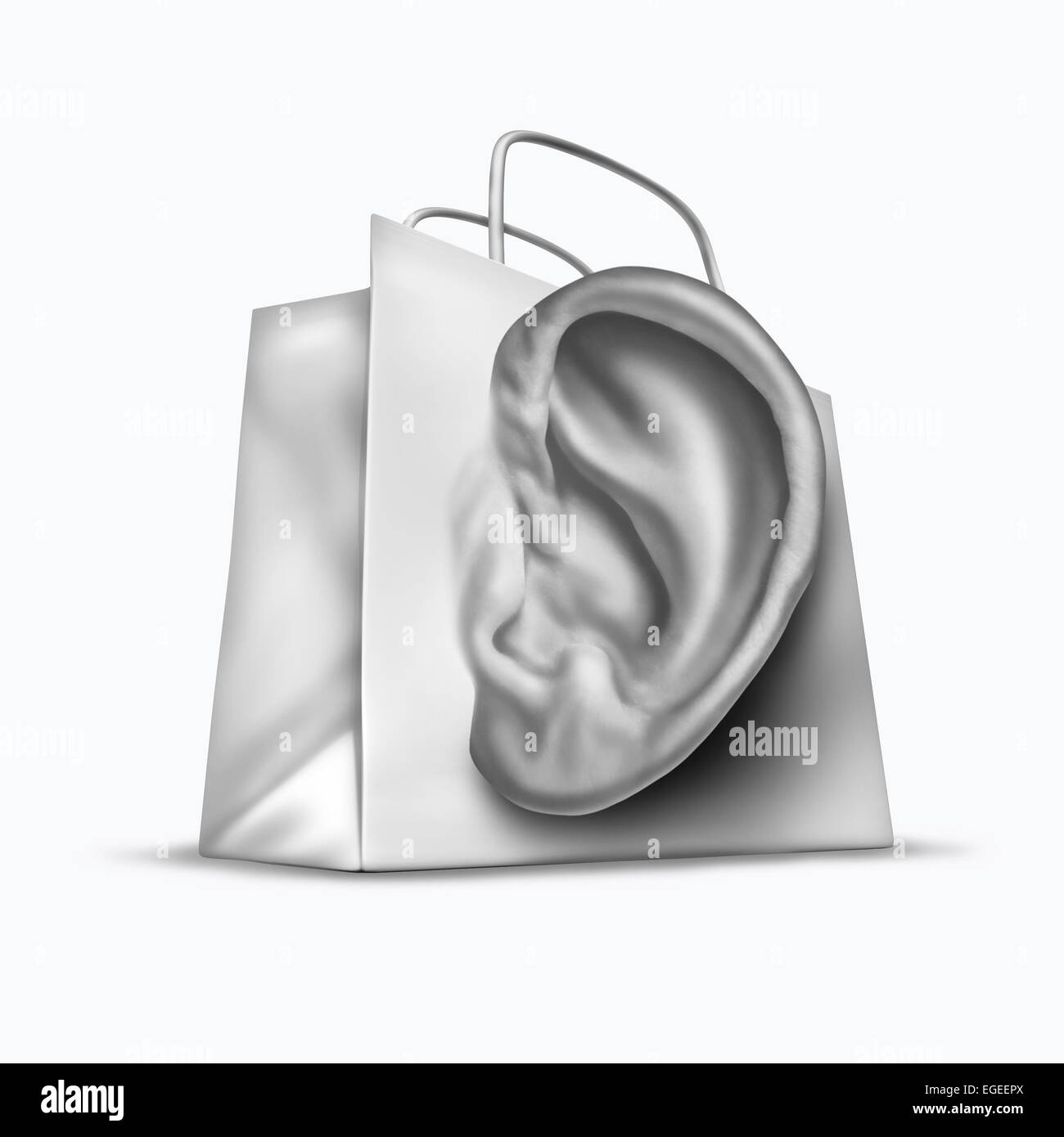Customer survey concept as a shopping bag shaped as a human ear as a retail business symbol for listening to the - Stock Image