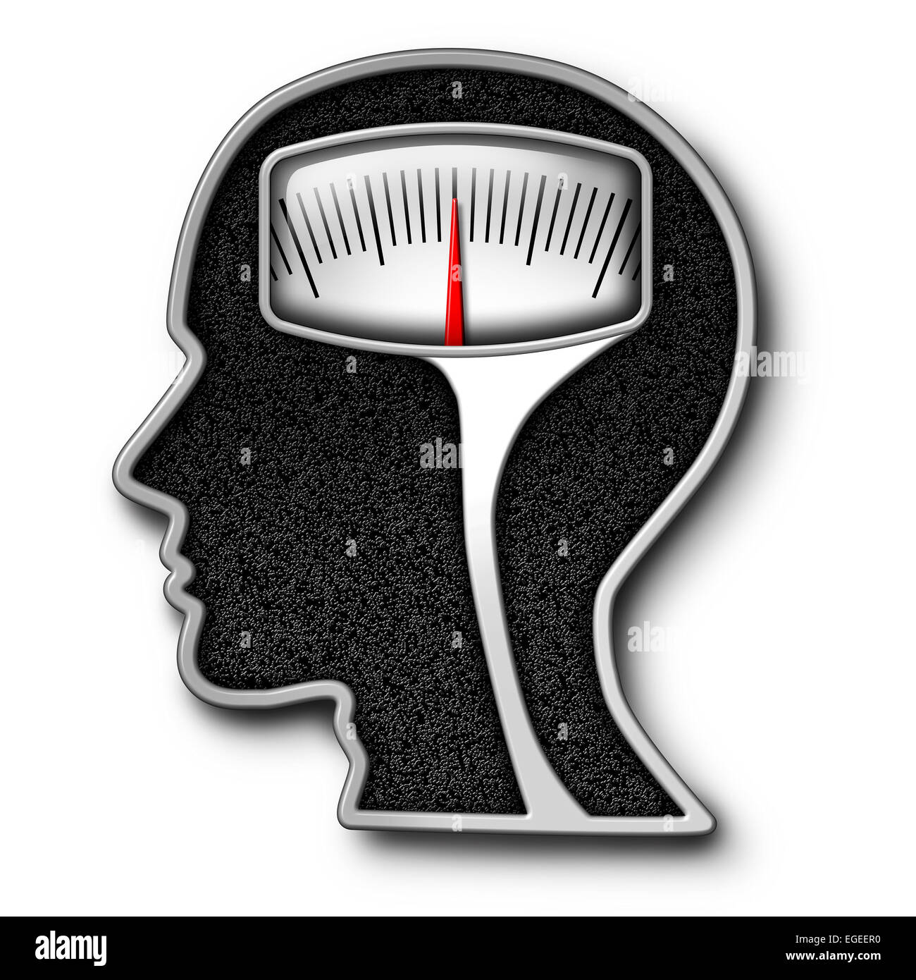 Diet psychology concept as a weight scale shaped as a human head as a symbol for eating issues and obsession of - Stock Image